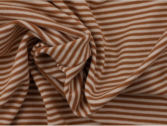 Single Jersey Stripe Fabric - Coffee / Cream