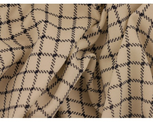 Double Jersey Ponti Fabric - Cream with Navy Check