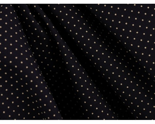 Printed Cotton Poplin Fabric - White Spot on Navy