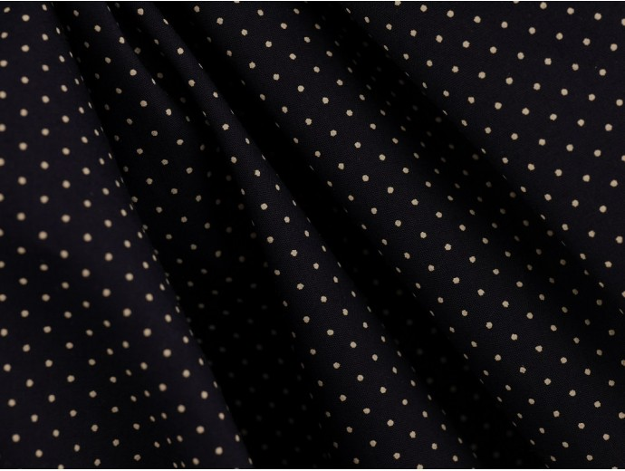 Printed Cotton Lawn Fabric - White Spot on Navy