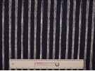 Printed Cotton Poplin Fabric - Cream Stripe on Navy