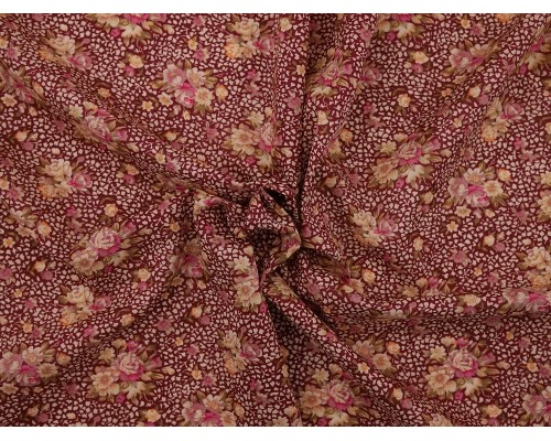 Printed Cotton Lawn Fabric - Small Bouquet on Pink