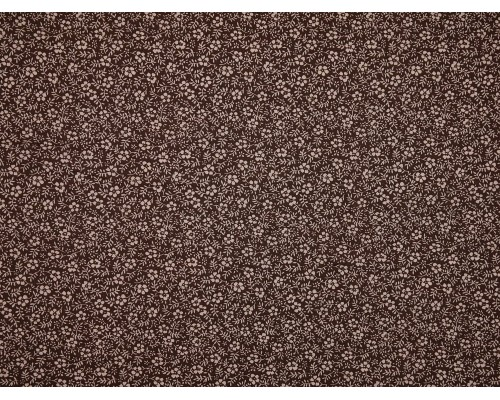 Printed Cotton Lawn Fabric - Ditsy Floral Cream on Brown