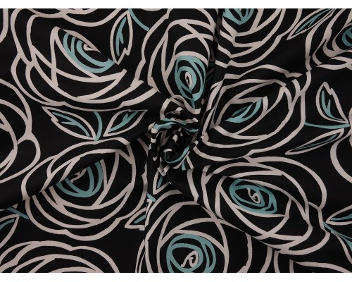 Printed Cotton Poplin Fabric - Abstract Rose on Black