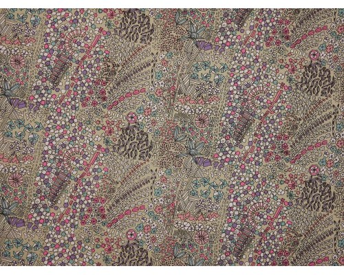 Printed Cotton Poplin Fabric - Abstract Print on Taupe