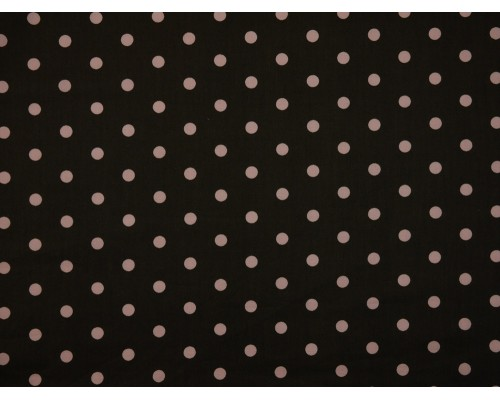 Printed Cotton Poplin Fabric - Pink Spot on Chocolate