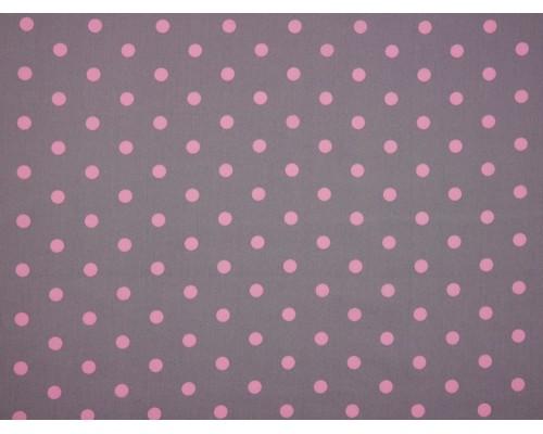 Printed Cotton Poplin Fabric - Pink Spot on Grey