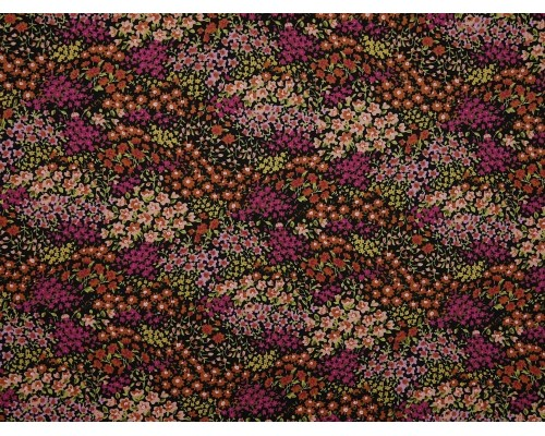 Printed Cotton Poplin Fabric - Floral Garden on Black