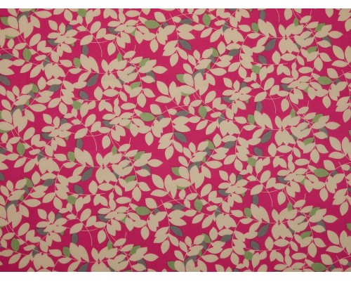 Printed Cotton Poplin Fabric - Leaf Print on Pink