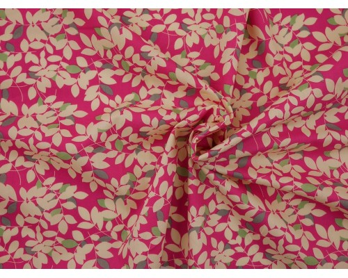 Printed Cotton Poplin Fabric - Leaf Print on Pink