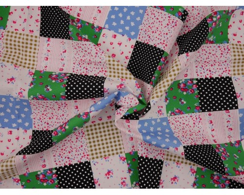 Printed Cotton Poplin Fabric - Patchwork