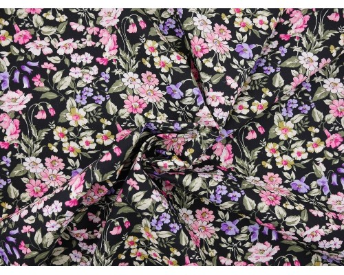 Printed Cotton Poplin Fabric - Pink and Purple Floral on Black