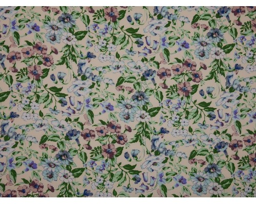 Printed Cotton Poplin Fabric - Pink and Blue Floral on Cream