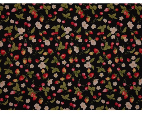 Printed Cotton Poplin Fabric - Strawberries and Cherries on Black