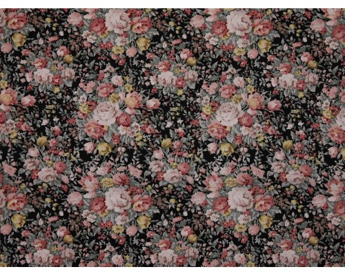 Printed Cotton Poplin Fabric - Floral Bouquet on Black