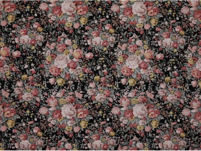 Printed Cotton Poplin Fabric - Floral Bouquet on Black