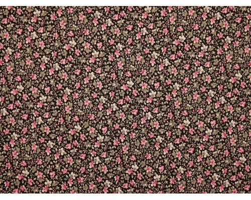 Printed Cotton Poplin Fabric - Pink and Grey Floral on Black