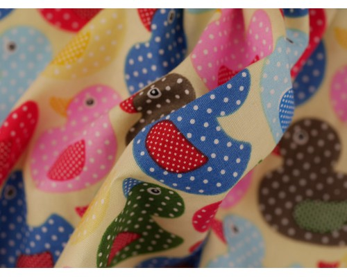 Printed Cotton Poplin Fabric - Ducks on Lemon
