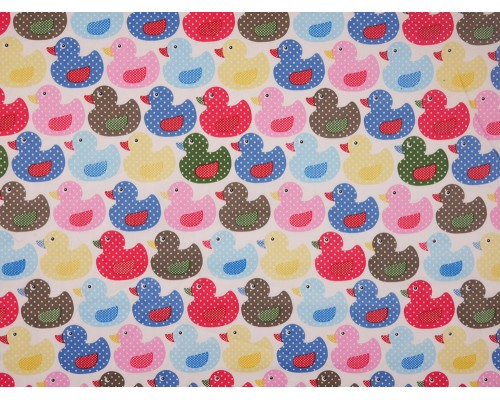 Printed Cotton Poplin Fabric - Ducks on White