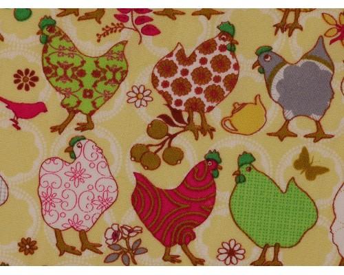 Printed Cotton Poplin Fabric - Funky Chickens on Lemon