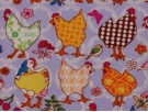 Printed Cotton Poplin Fabric - Funky  Chickens on Lilac