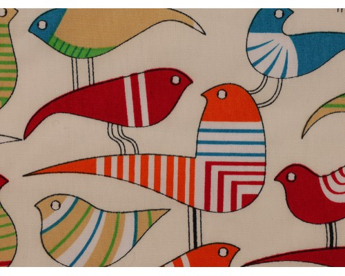 Printed Cotton Poplin Fabric - Birds on Cream