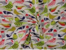 Printed Cotton Poplin Fabric - Birds on White