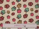 Printed Cotton Poplin Fabric - Owls on Cream