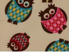 Printed Cotton Poplin Fabric - Owls on Cream