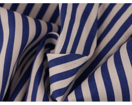 Printed Cotton Poplin Fabric - Blue / White Stripe