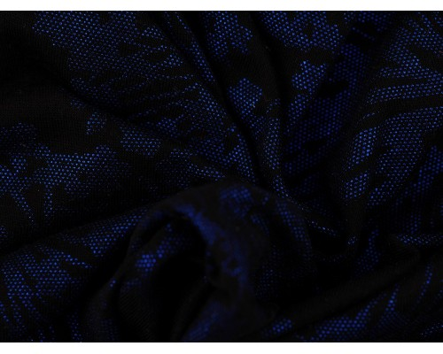 Foil Printed Viscose Jersey Fabric - Royal on Black