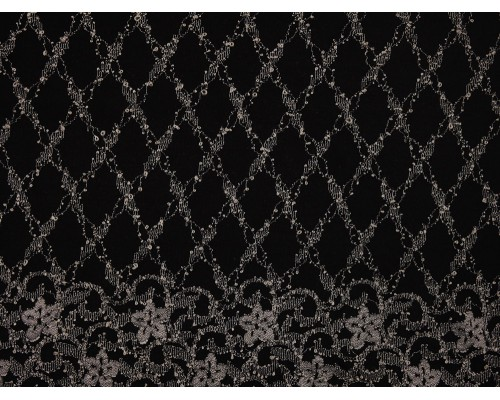Nottingham Lace Fabric - Cream on Black