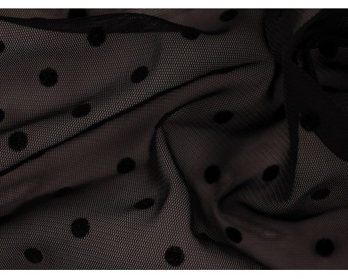 Flock Print Knitted Chiffon Fabric - Black