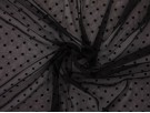 Flock Print Knitted Chiffon Fabric - Black