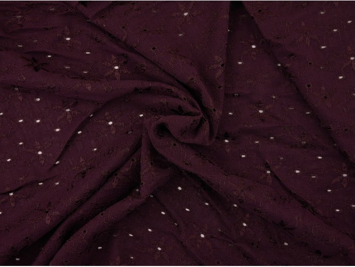 Nottingham Lace Fabric - Aubergine