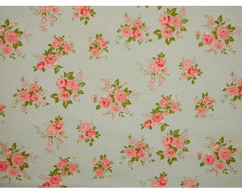 Canvas Fabric - Pink Roses on Blue