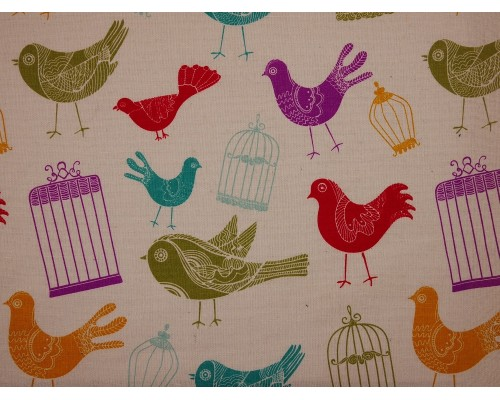 Canvas Fabric - Birds and Cages