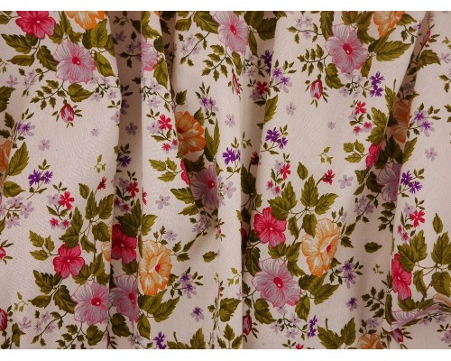 Canvas Fabric - Floral on Cream