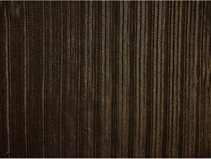 Pleated Foil Print Fabric - Gold on Black
