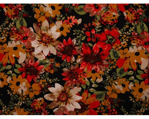 Polyester Crepe Fabric - Mustard Flowers on Black