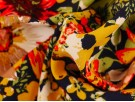 Polyester Crepe Fabric - Mustard Flowers on Navy