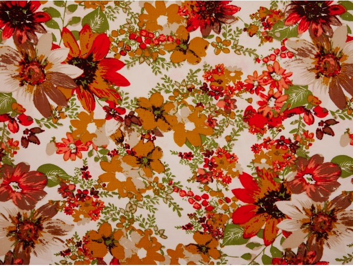Polyester Crepe Fabric - Mustard Flowers on White