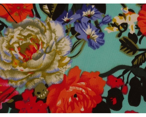 Polyester Viscose Satin Fabric - Busy Floral