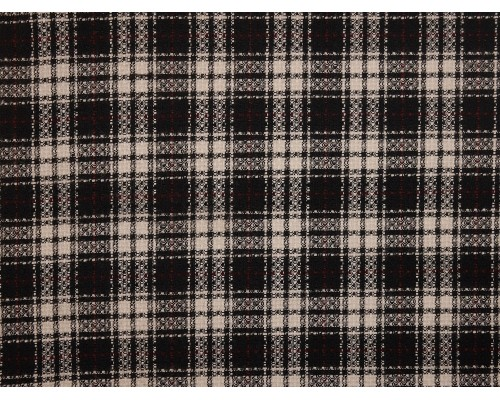 Woven Jacquard Fabric - Black and White Tartan