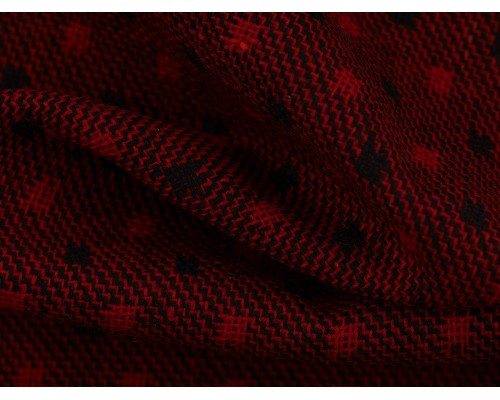 Woven Jacquard Fabric - Red and Black Spot
