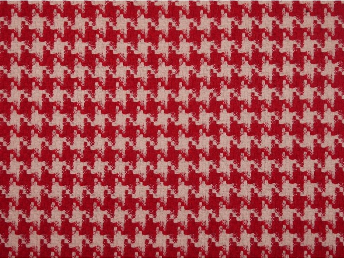Woven Jacquard Fabric - Red and White Dogtooth