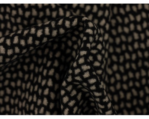 Woven Jacquard Fabric - Black and White Mosaic