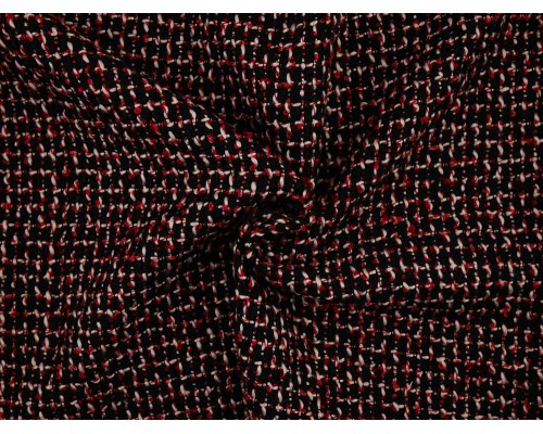 Woven Jacquard Fabric - Black / White / Red