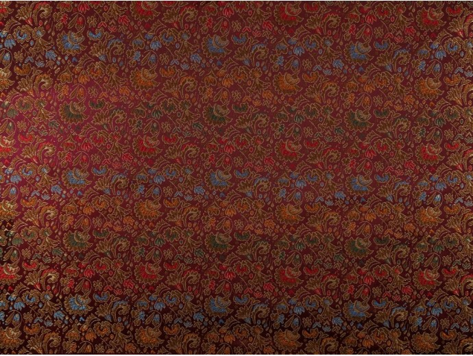 Chinese Design Jacquard Fabric - Maroon Floral