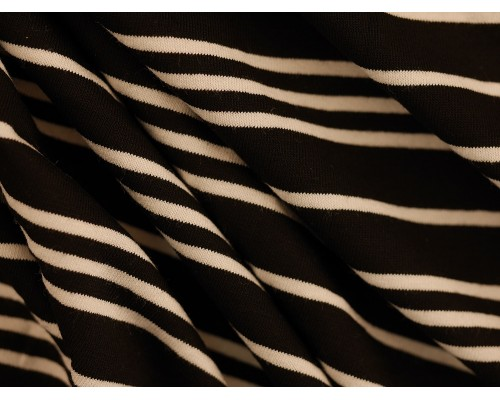 Single Jersey Stripe Fabric - Black / White